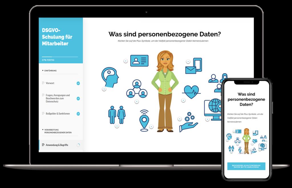 Auszug Online-Schulung DSGVO-Schulung für Mitarbeiter. Personenenbezogene Daten.