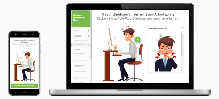 Auszug Online-Unterweisung Arbeitsschutz im Büro und am Bildschirm.