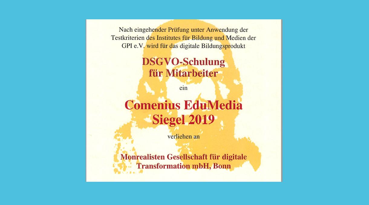 Comenius Award für capitoo Datenschutz Schulung