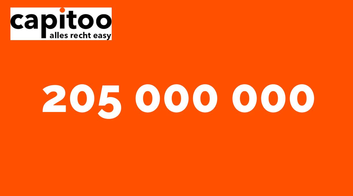 capitoo Zahl der Woche: 205 000 000